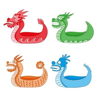 Conjunto de bote de dragón de diseño dibujado a mano