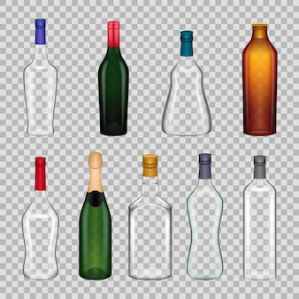 Conjunto de botella de alcohol vacía realista. envases de vidrio transparente para bebidas alcohólicas