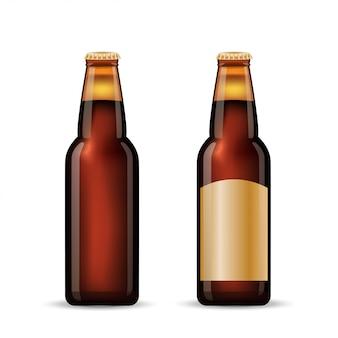 Conjunto de botella de cerveza marrón.