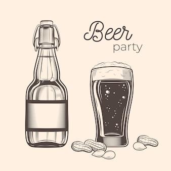 Conjunto de botella de cerveza y vaso en estilo vintage