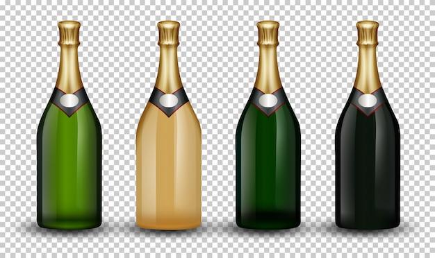 Conjunto de botella de champagne