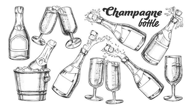 Conjunto de botella de champán y vidrio monocromo
