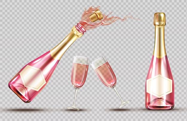 Conjunto de botella y copa de vino rosa explosión de champán