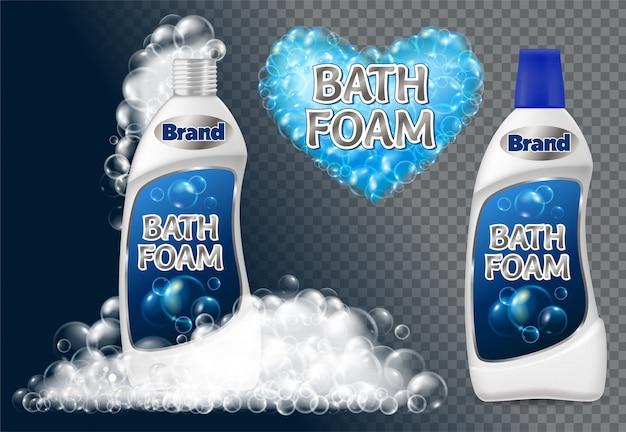 Conjunto de botella de espuma de baño y banner de pompas de jabón