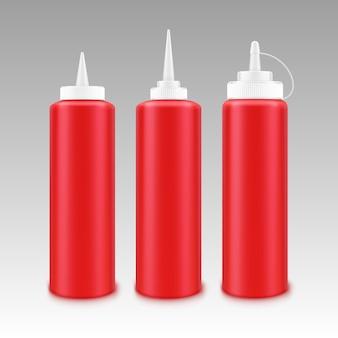 Conjunto de botella de ketchup de plástico en blanco