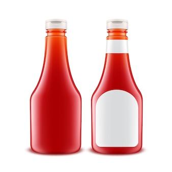 Conjunto de botella de ketchup de tomate rojo plástico de vidrio en blanco