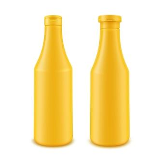 Conjunto de botella de mostaza amarilla de plástico en blanco para la marca sin etiqueta sobre fondo blanco.