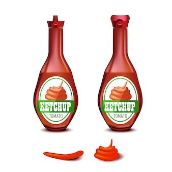 Conjunto de botella de salsa de tomate de plástico en blanco para la marca con etiqueta