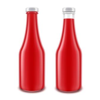 Conjunto de botella de salsa de tomate roja de vidrio en blanco para la marca