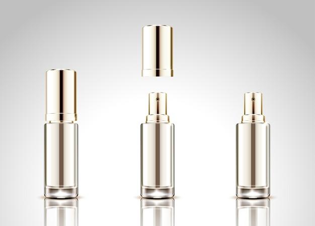 Conjunto de botella de spray en blanco, envase cosmético sobre fondo gris claro en la ilustración