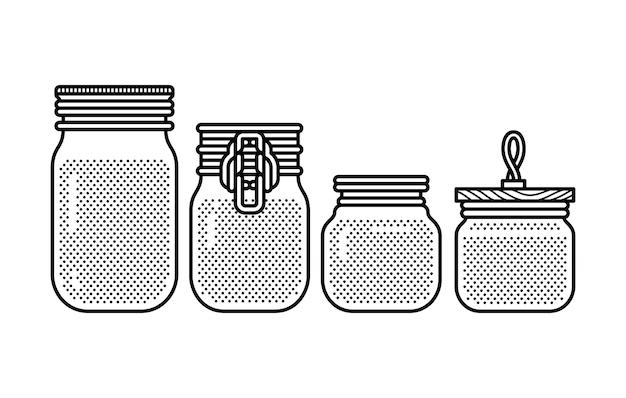 Conjunto de botella de tarro de masón en blanco