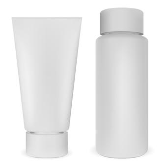 Conjunto de botella y tubo de plástico. vector cosmético blanco