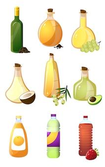Conjunto de botella de vidrio de diferentes aceites o vinagre para cocina