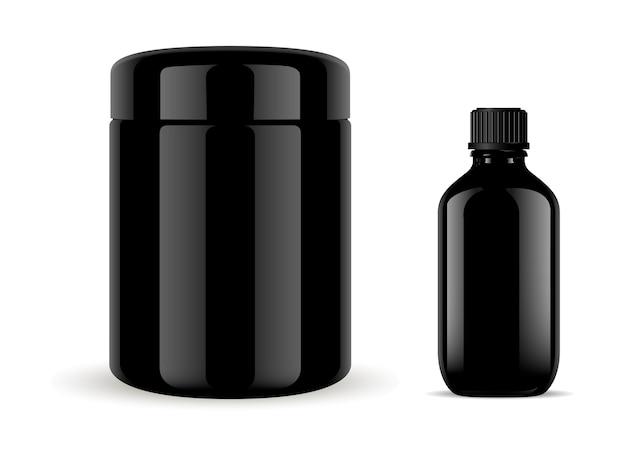 Conjunto de botella de vidrio médica cosmética. vial jar