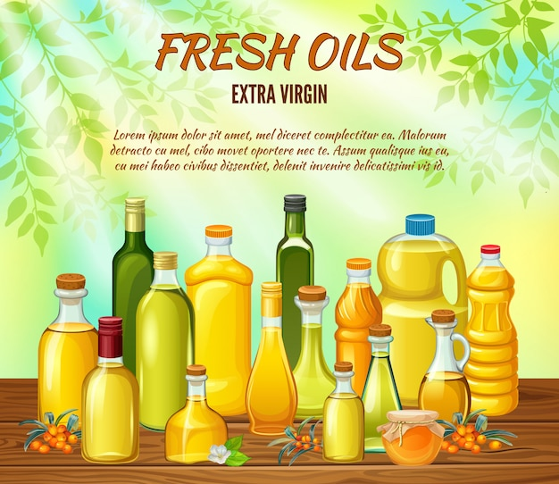 Conjunto de botellas con aceites vegetales para cocinar.