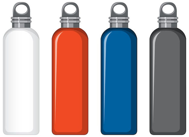 Conjunto de botellas de agua de metal de diferentes colores aislado