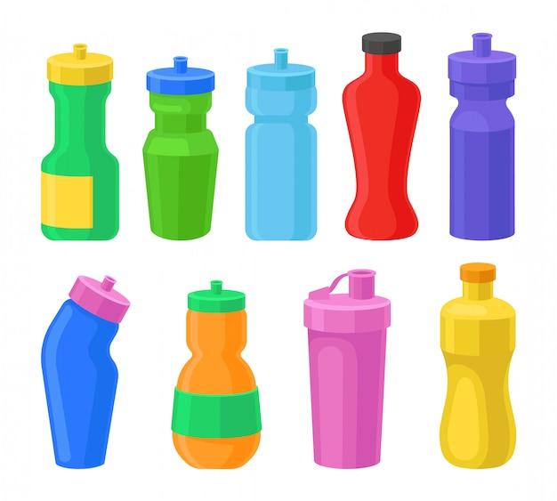 Conjunto de botellas de agua reutilizables de plástico, botellas de bebidas coorful para fitness, agitadores de proteínas ilustraciones sobre un fondo blanco