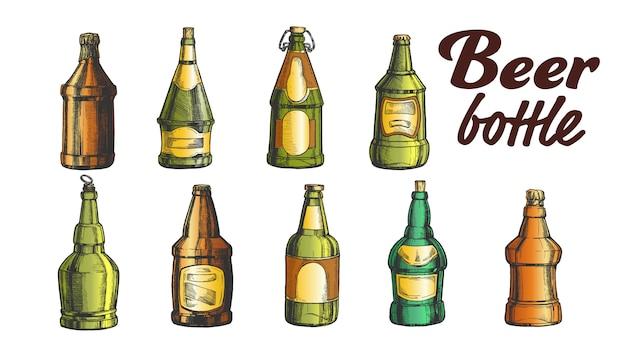 Conjunto de botellas de cerveza de color en blanco dibujado a mano
