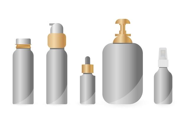 Conjunto de botellas de cosméticos aislado sobre fondo blanco. colección de paquetes para crema, sopas, espumas, champú. maqueta 3d realista de envases cosméticos. ilustración de vector, eps 10.