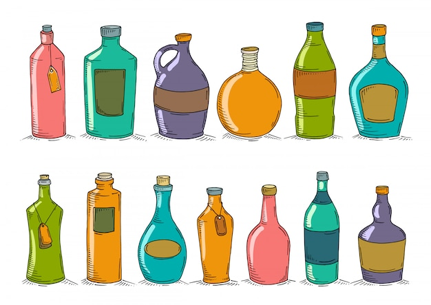 Conjunto de botellas de doodle de dibujos animados.