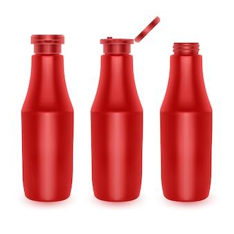 Conjunto de botellas de ketchup de tomate rojo de plástico en blanco
