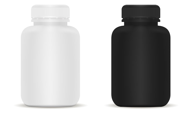 Conjunto de botellas médicas. ilustración 3d en blanco y negro.