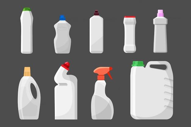 Conjunto de botellas o recipientes de detergente en blanco, productos de limpieza, detergente en polvo.