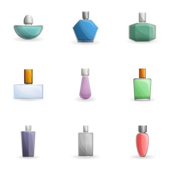 Conjunto de botellas de perfume, estilo de dibujos animados