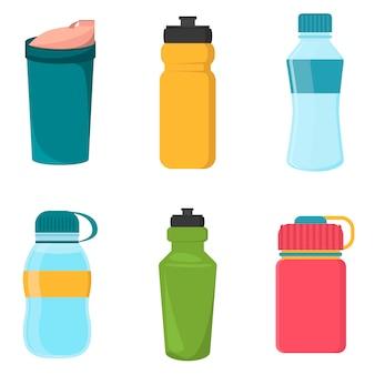 Conjunto de botellas de plástico de bicicleta en blanco para agua