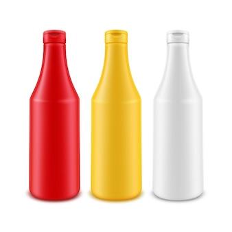 Conjunto de botellas de plástico en blanco aislado en blanco