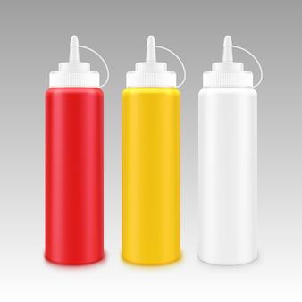 Conjunto de botellas de plástico en blanco