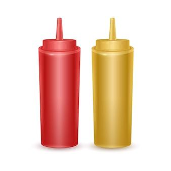 Conjunto de botellas realistas de ketchup y mostaza.