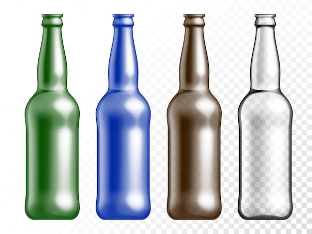 Conjunto de botellas de textura de vidrio de color transparente