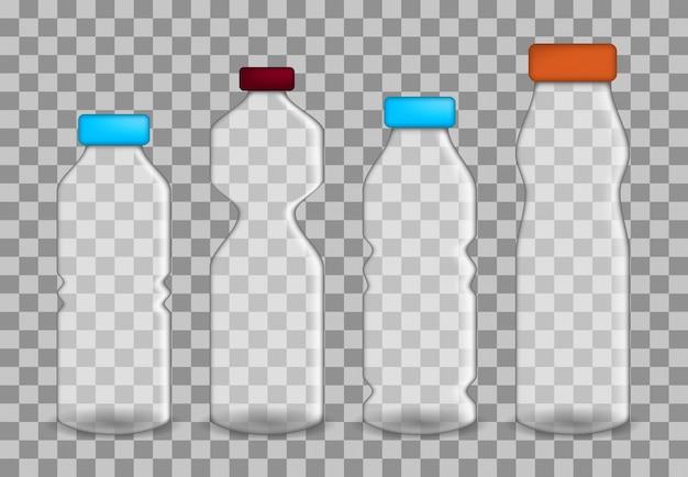 Conjunto de botellas transparentes realistas en diferentes tamaños.