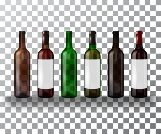 Conjunto de botellas vacías y llenas de vino aislado en un transparente.
