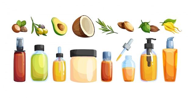 Conjunto de botellas de vidrio de dibujos animados con aceite esencial y cosmético. icono de ingredientes cosméticos