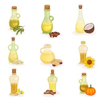 Conjunto de botellas de vidrio de diferentes aceites. productos orgánicos y saludables. ingredientes de cocina naturales