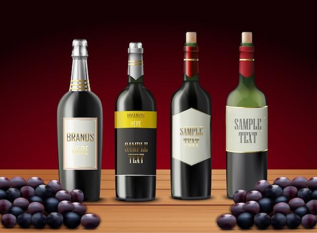Conjunto de botellas de vino y uvas
