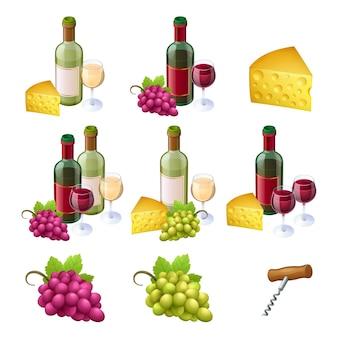 Conjunto de botellas de vino, vasos, queso y uvas.