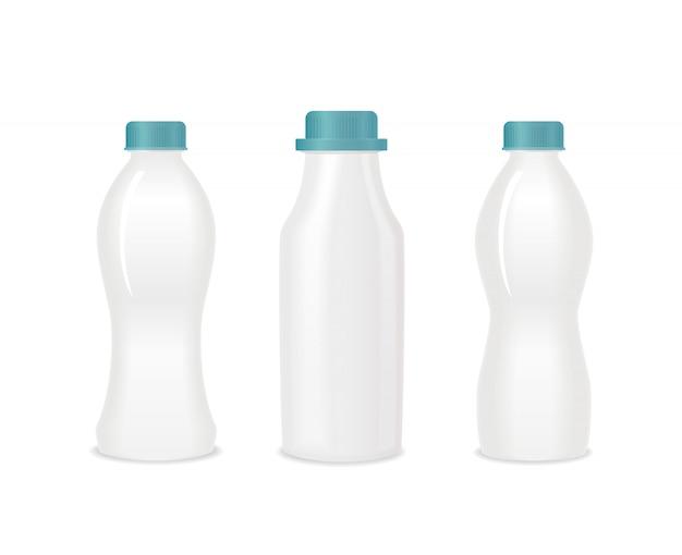 Conjunto de botellas de yogur blanco en blanco con tapas verdes.
