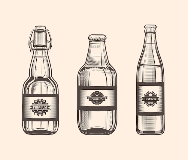Conjunto de botes de cerveza en estilo vintage