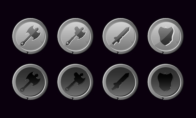 Conjunto de botón de arma con textura de piedra para elementos de activos de interfaz gráfica de usuario