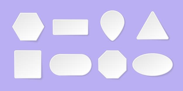 Conjunto de botón blanco en blanco para aplicaciones y sitio web