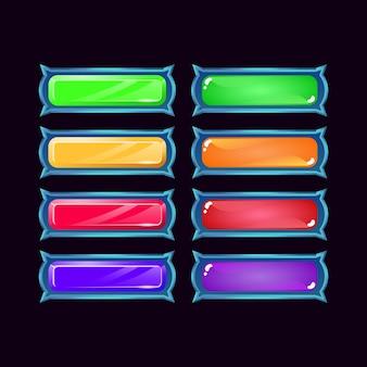 Conjunto de botón de colorido de diamante y gelatina de fantasía de juego de interfaz de usuario para elementos de activos de interfaz gráfica de usuario