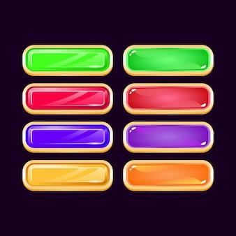 Conjunto de botón colorido juego ui diamante dorado y gelatina para elementos de activos de interfaz gráfica de usuario
