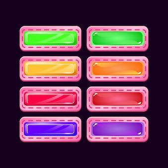 Conjunto de botón colorido juego ui diamante rosa y gelatina para elementos de activos de interfaz gráfica de usuario