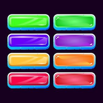 Conjunto de botón colorido juego ui ice diamond y gelatina para elementos de activos de interfaz gráfica de usuario