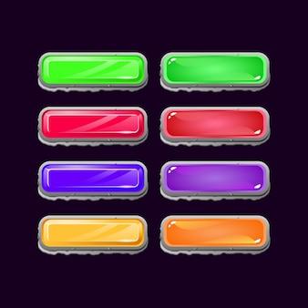 Conjunto de botón colorido juego ui piedra diamante y gelatina para elementos de activos de interfaz gráfica de usuario