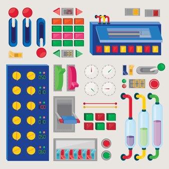 Conjunto de botón de control. paneles tecnológicos
