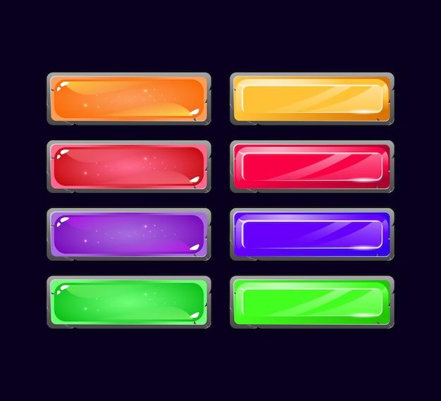 Conjunto de botón de cristal de gelatina y diamante con textura de borde de piedra para elementos de activos de interfaz gráfica de usuario